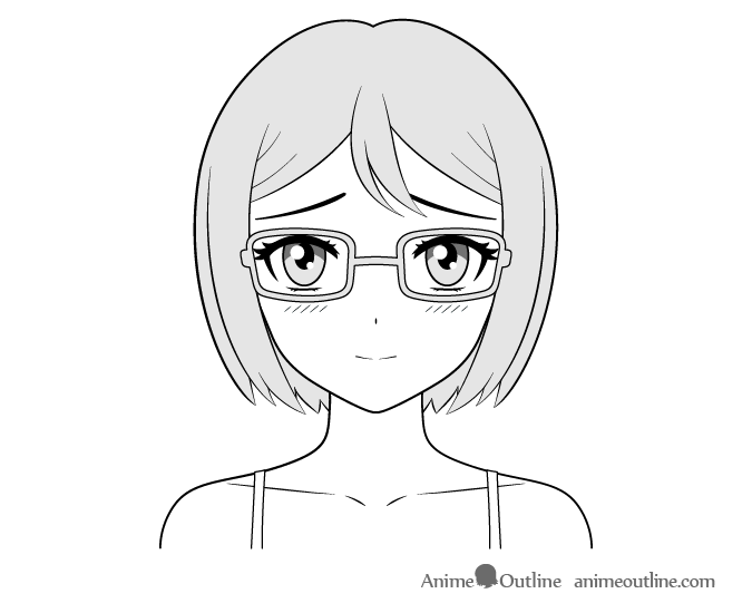 Anime bookworm girl shy face drawing