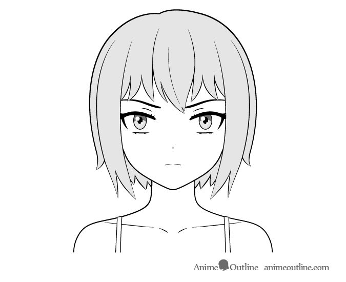 Anime delinquent girl face drawing
