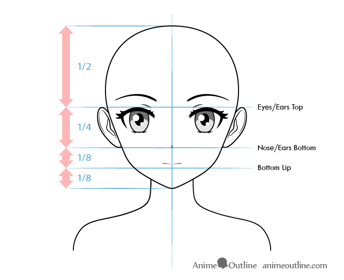 Anime female character face proportions