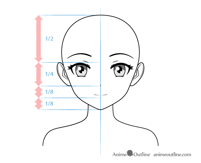 Anime female character smiling face drawing