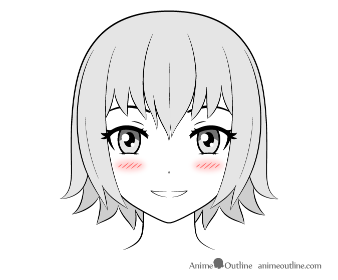 Anime girl with small combined blush