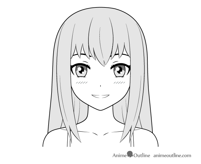 Anime ordinary girl happy face drawing