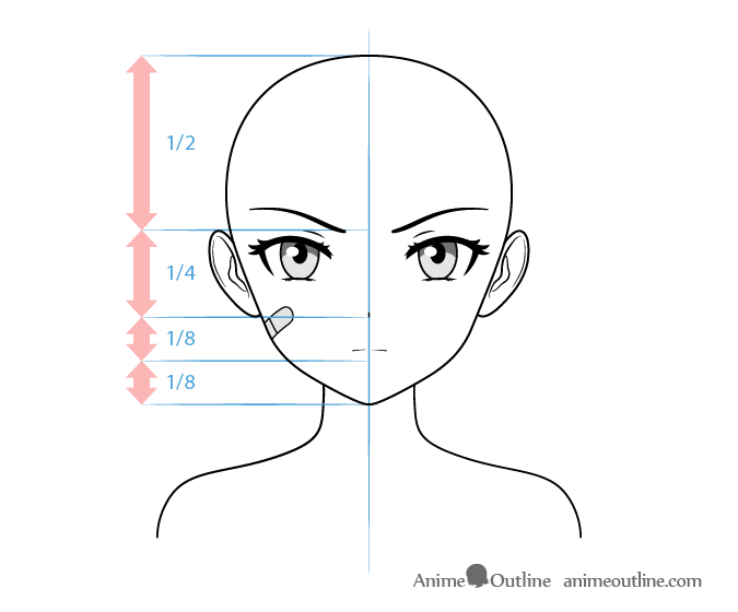 Anime tough female character face drawing