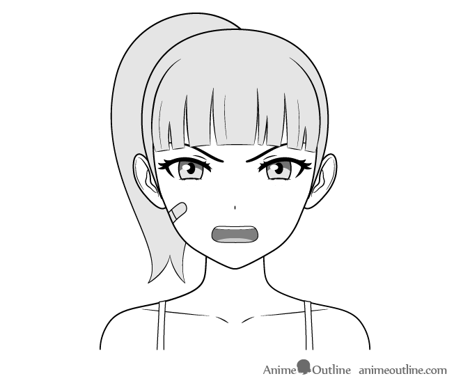 Anime tough female character angry face drawing