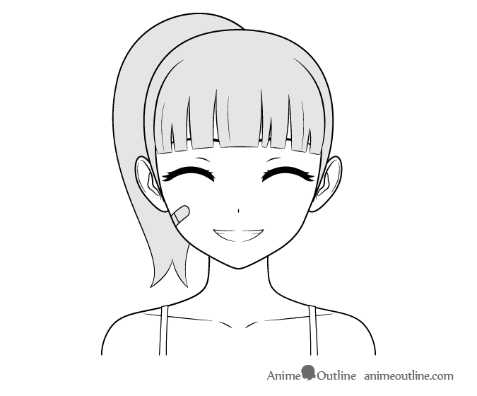 Anime tough girl happy face drawing
