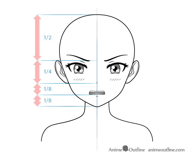 Anime tsundere female character embarrassed face drawing