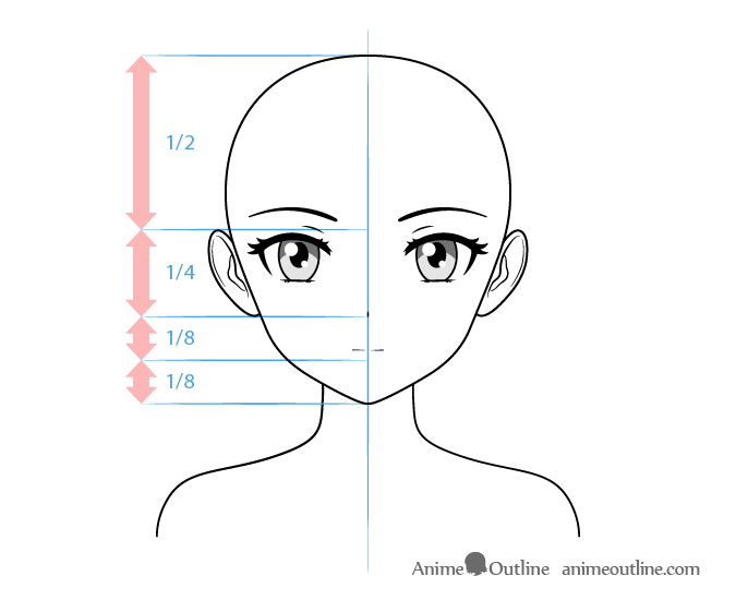 Anime tsundere female character face drawing