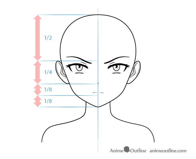 Anime villain female character face drawing