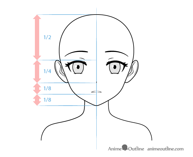 Anime yandere female character cold stare face drawing