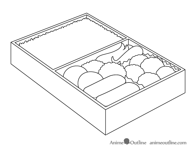 Anime food in lunchbox drawing outline drawing