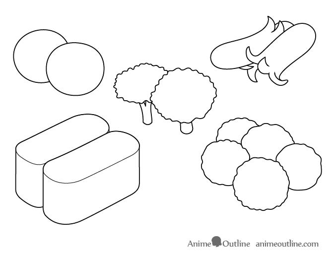 Anime food outline drawing