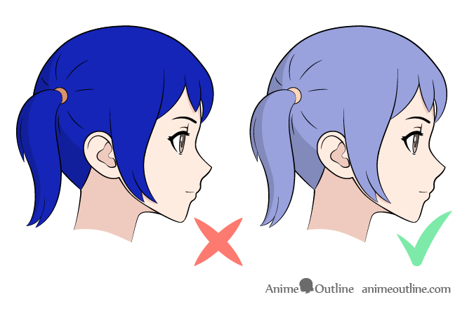 Anime hair coloring good vs bad color selection