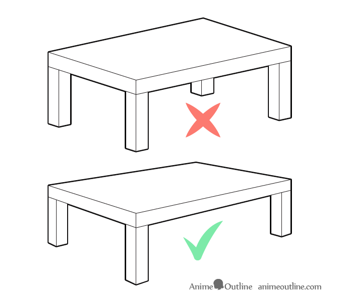 Japanese table drawing with and without perspective