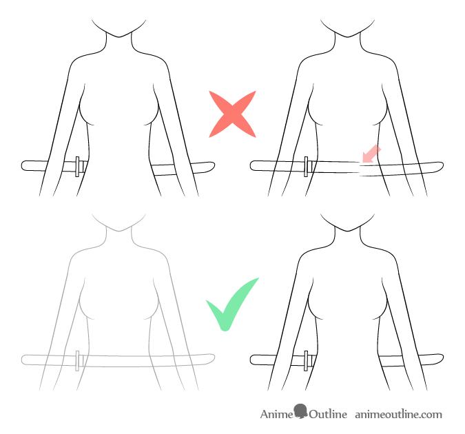 Anime sword on waist see through drawing