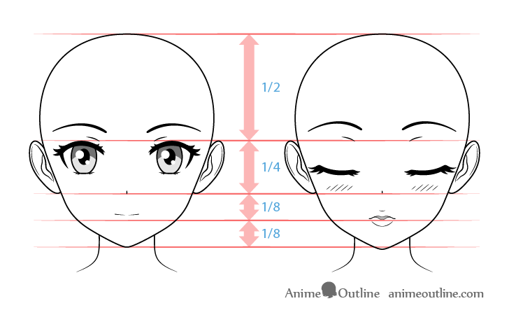 Normal and kissing expression anime girl face proportions