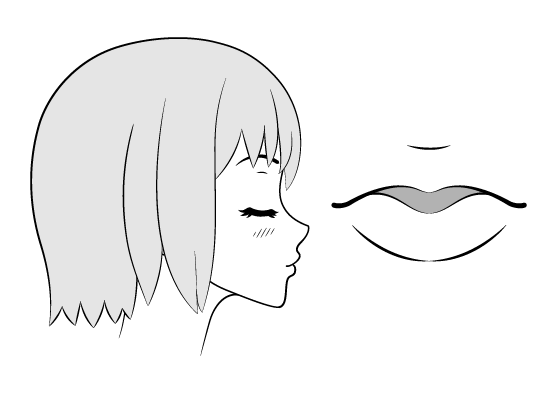 Anime kissing face and lips