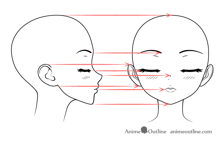 Anime kissing face drawing projection