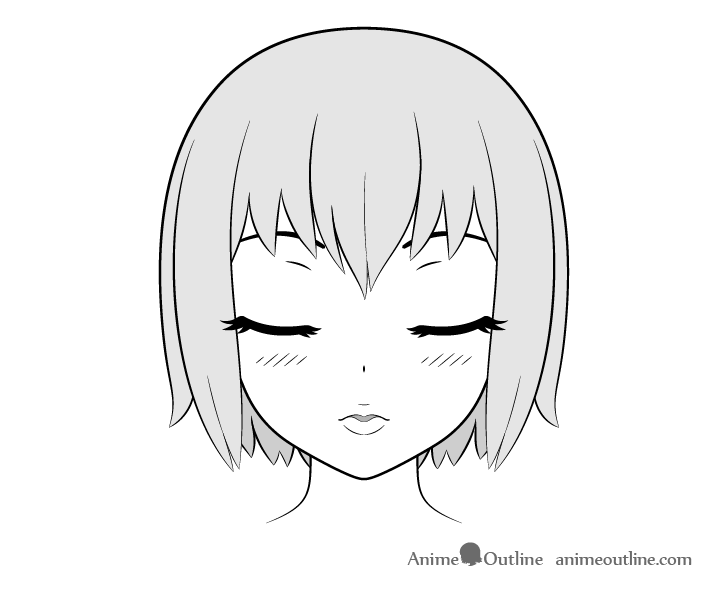 Anime kissing face front view drawing