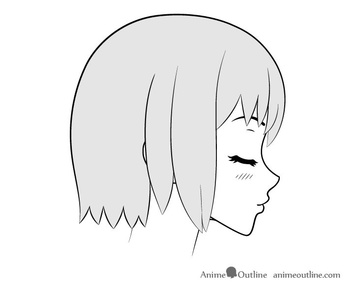 Anime kissing face side view drawing