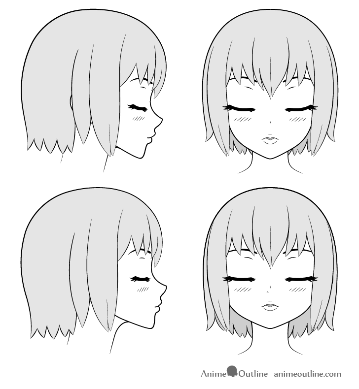 Anime kissing lips and face drawing