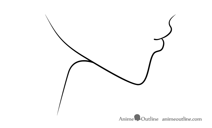 Anime kissing lips side view drawing