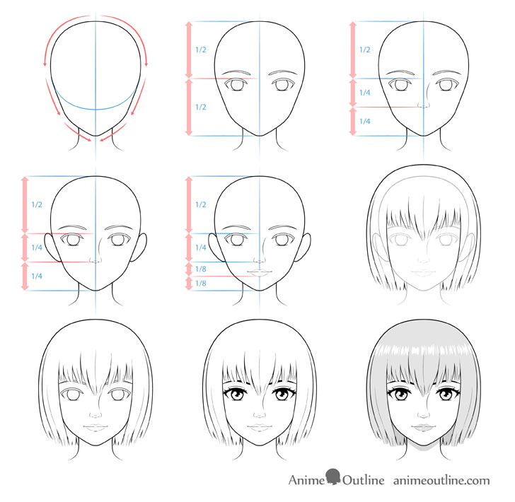 How to Draw a Realistic Anime Face Step by Step AnimeOutline