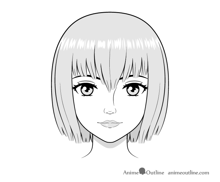 Realistic anime face drawing shaded drawing
