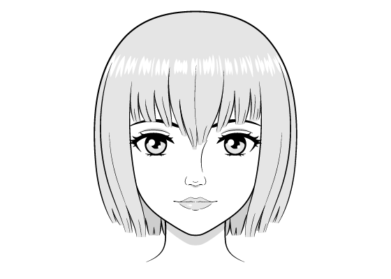 Realistic female anime face drawing