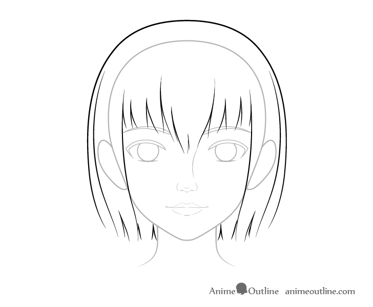 Realistic anime hair basic line drawing