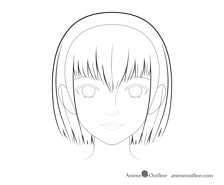 Realistic anime hair drawing
