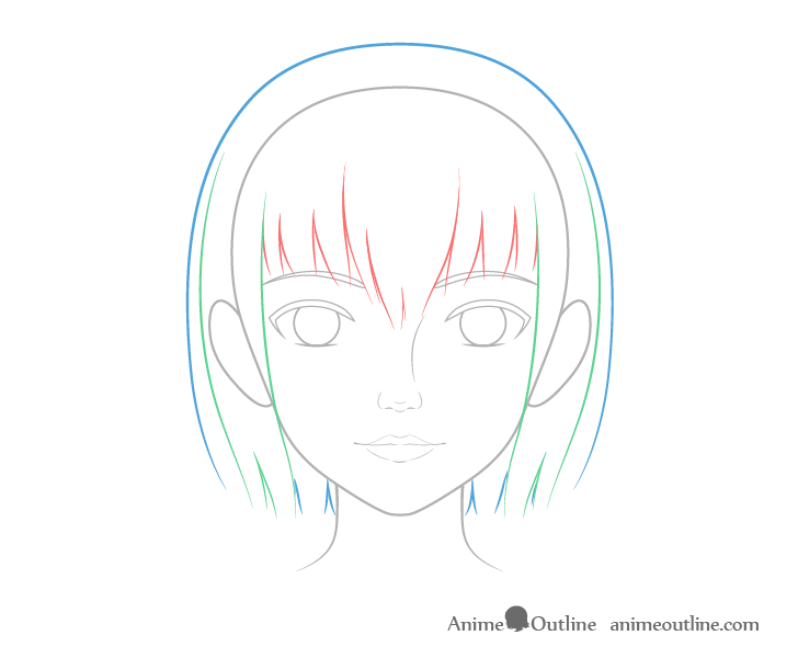 Realistic anime hair drawing breakdown