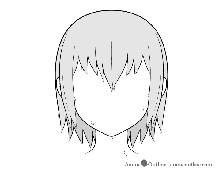 Anime hair water drops drawing