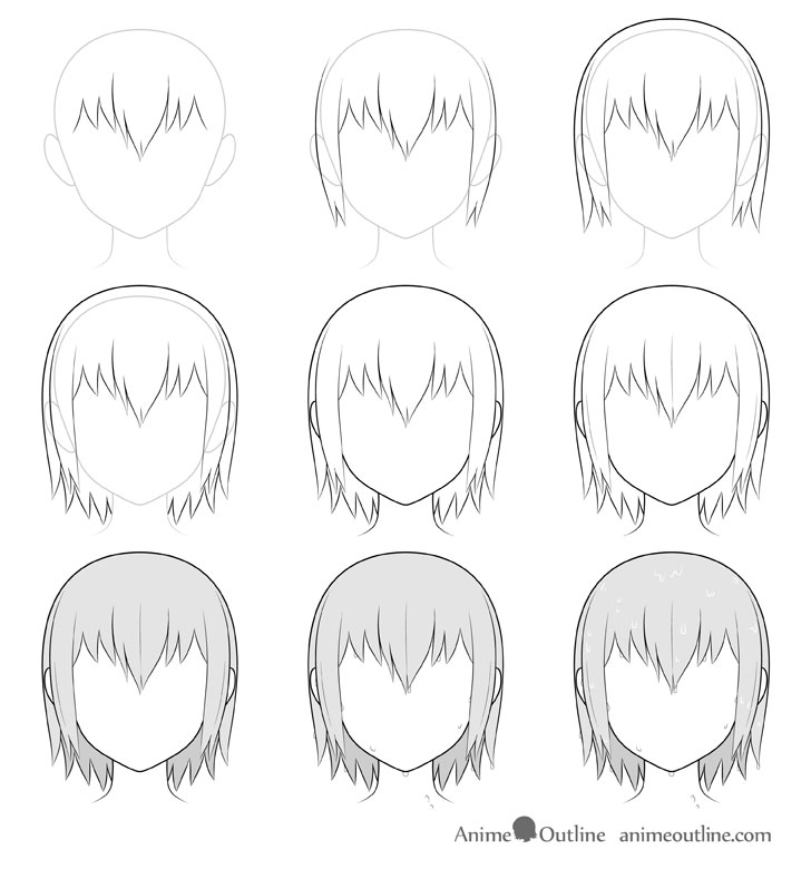 Anime wet hair drawing step by step