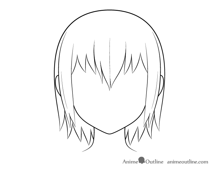 Anime wet hair line drawing