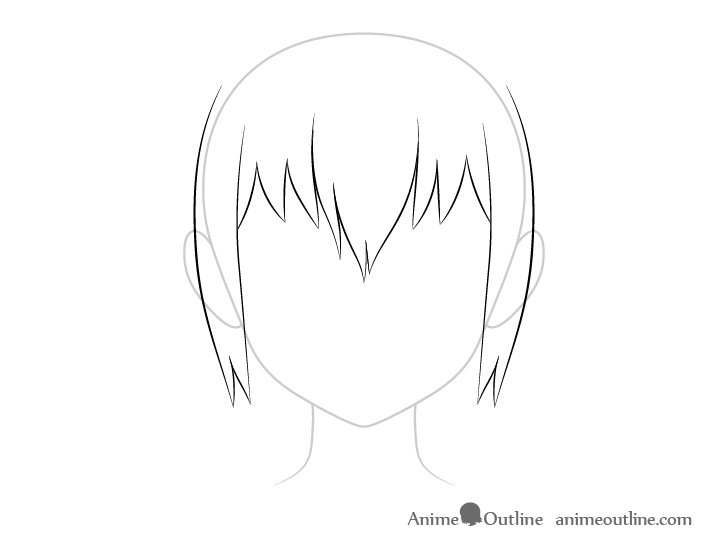 Anime wet sideburns drawing