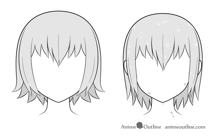 Anime wet vs dry hair comparison