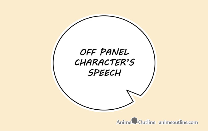 Manga off panel character speech bubble