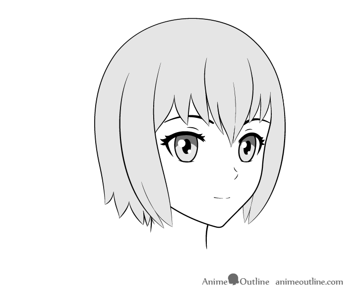 Anime face drawing 3/4 view