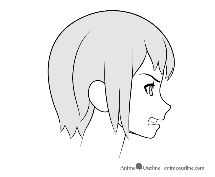 Anime grinding teeth side view drawing