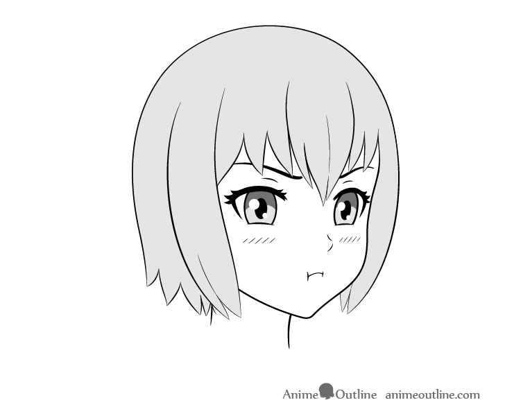 Anime pouting face drawing 3/4 view