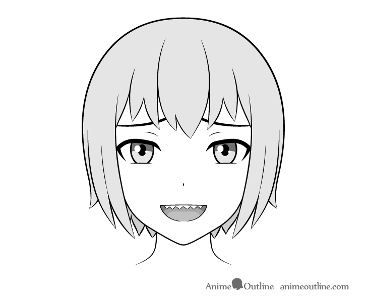 Anime sharp teeth face open mouth drawing