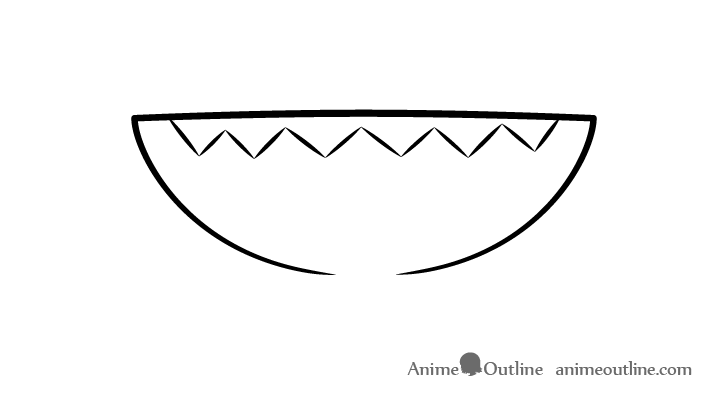 Anime sharp teeth open mouth drawing