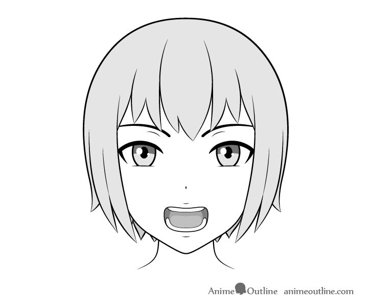 Anime teeth open mouth drawing