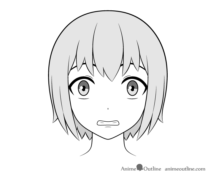 Anime teeth scared face drawing