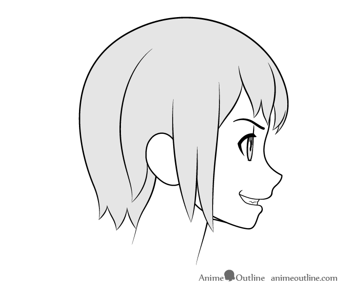 Anime teeth side view grin drawing