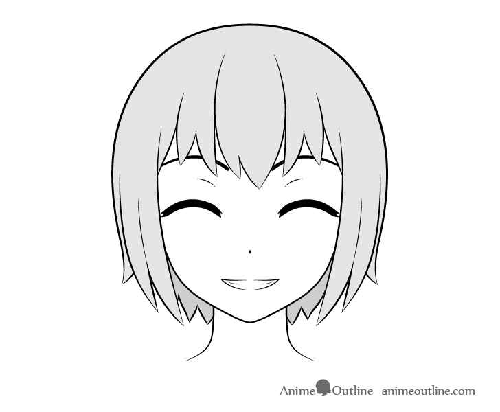 Anime smiling face drawing