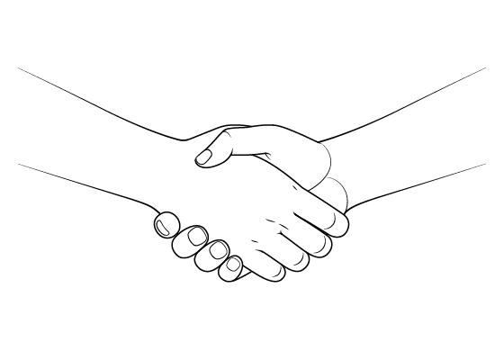 Anime handshake drawing