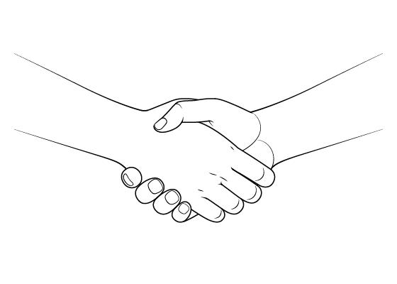 Anime handshake drawing