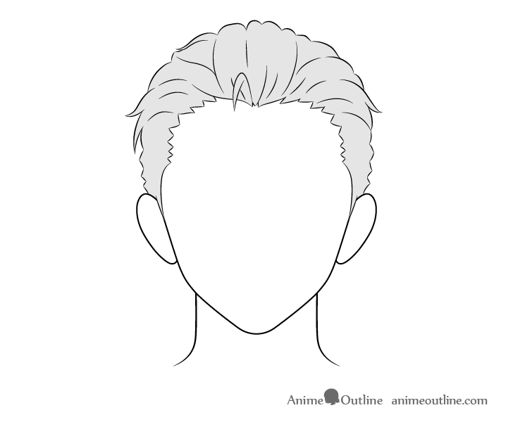 Anime combed back male hair drawing