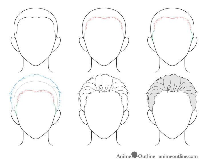 Anime combed back male hair drawing step by step